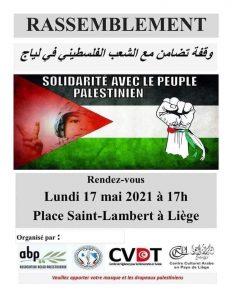 Liège - Rassemblement de solidarité avec le peuple palestinien @ Place Saint Lambert - Liège